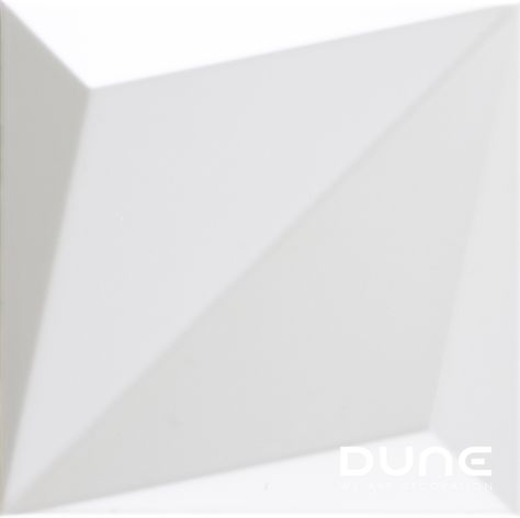 ORIGAMI WHITE - 25X25cm - Tile with symmetrical 3D relief, with diagonal division. In matt-white, allowing for plenty of variation in the way it is used to achieve a play of volumes that accentuate the light. #duneceramica#diseño#calidad#azulejos#creatividad#design#quality#tiles#creativity#innovation#trend#fashion#decorationwww.dune.es/...
