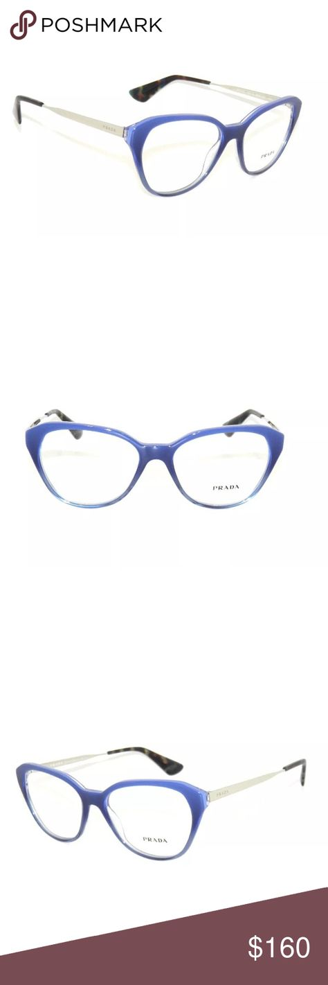 8402cb39c89 Prada Eyeglasses 28S Blue Frame New with clear lens Comes with Prada case  Authentic Prada Accessories