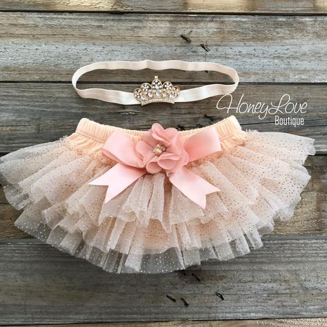 BABY GIRL HANDMADE IVORY /& GOLD GLITTER TUTU SKIRTS NEWBORN-24 MONTHS PHOTO PROP