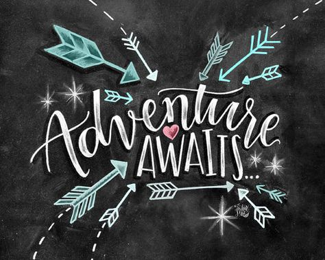 Adventure Awaits Sign Chalkboard Art Chalk Art by TheWhiteLime