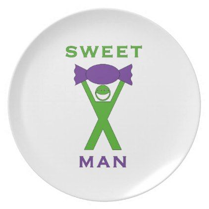 sc 1 st  Pinterest & Sweet Man Funny Green and Purple Slogan Design Dinner Plate   Slogan