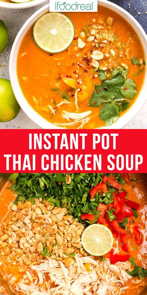 instant pot chicken recipes Easy, creamy and comforting Instant Pot Thai Chicken Soup that is full of hidden veggies. Stove and slow cooker instructions included. Chicken Curry Soup, Thai Chicken, Chicken Soup Recipes, Instapot Chicken Soup, Chicken Veggie Soup, Instant Pot Pressure Cooker, Pressure Cooker Recipes, Pressure Cooker Fried Chicken, Chicken Soup Slow Cooker