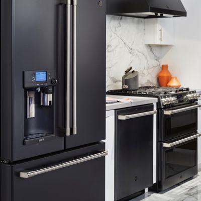 Black Slate Ge French Door Refrigerator With Door Within Door And Bottom Freezer Slate Appliances Kitchen Slate Appliances Slate Kitchen
