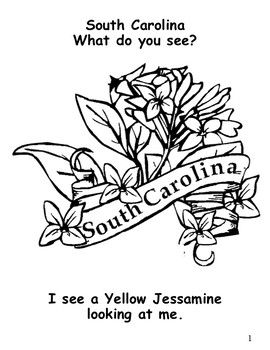 South Carolina State Symbols Student Book Flower Coloring Pages