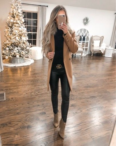 Tan coat black gucci belt faux leather leggings - Gucci Jacket - Ideas of Gucci Jacket - Casual chic holiday outfit idea.