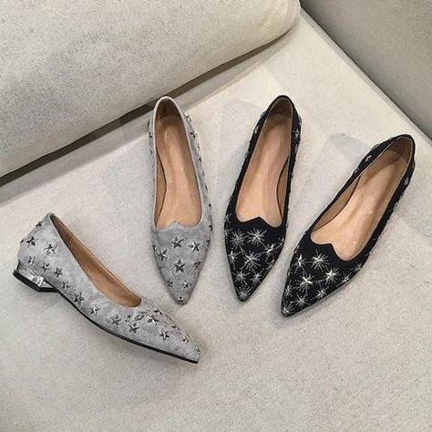 Metal Star Black Grey Suede Slip Shoes SE – deevybuy