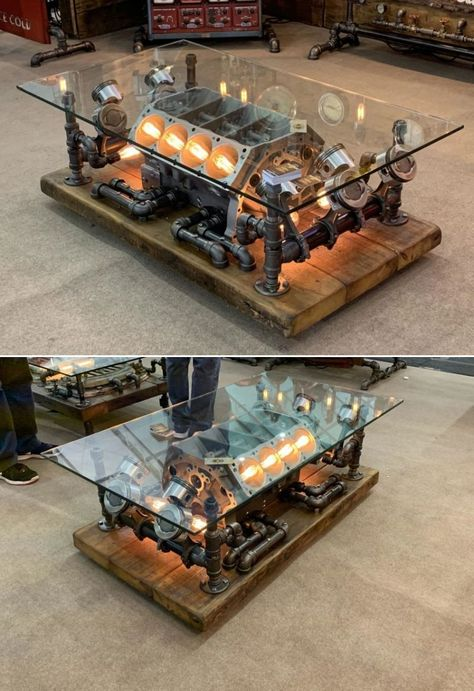 This is a repurposed car engine coffee table by Minnesota-based Machine Age Lamps. Founded by Shawn Carling, the company provides Steampunk lighting and furniture fixtures that are perfect for people interested in machine age styles. Man Cave Furniture, Garage Furniture, Car Part Furniture, Automotive Furniture, Automotive Decor, Metal Furniture, Industrial Furniture, Handmade Furniture, Recycled Furniture
