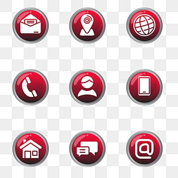 Set Of Contact Icon In Glossy Red Design Contact Icon Address Png And Vector With Transparent Background For Free Download Business Symbols Red Design Red Pages