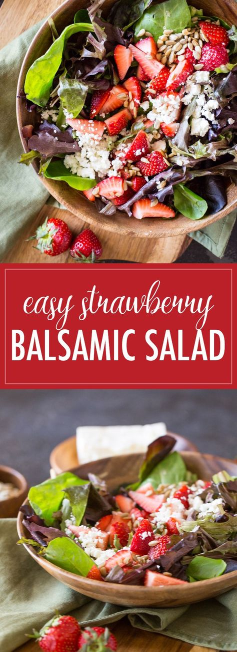 This Easy Strawberry Balsamic Salad has sweet, crunchy, and tangy all working together to make a party in your mouth. You'll love it! #strawberrybalsamicsalad #strawberries #sunflowerseeds #feta #babygreens #balsamicglaze #salad #healthyrecipes