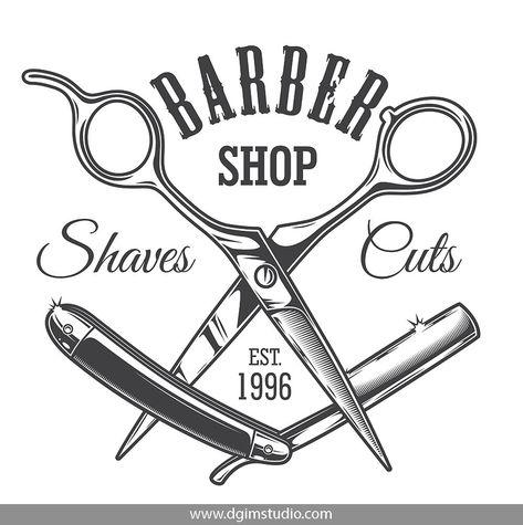 Old school style barbershop print with crossed razor and scissors. Click to the link to find more barbershop elements, badges, emblems and designs. #vectorillustration#vector#illustration#design#dgimstudio #barber #barbershop #hairdresser #scissors #razor