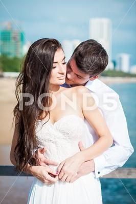 Newly Married Couple Kiss Each Other After Wedding In Luxury Resort Honeymoo Stock Photos Ad Kiss Weddi Newly Married Couple Married Couple Kissing Couples