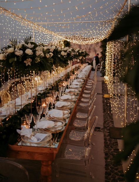Fairy lights for this Santorini wedding reception! Dining under a curtain of twinkle lights.so romantic! dinner outdoor A Magical Santorini Wedding with Fairy Lights + Tropical Florals - Green Wedding Shoes Romantic Dinner Setting, Romantic Dinners, Romantic Weddings, Country Weddings, Summer Weddings, Unique Weddings, Rustic Weddings, Indian Weddings, Green Weddings