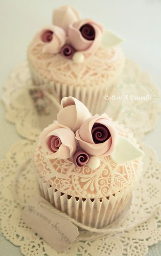 Wedding Cup Cake - Vintage Lace Cupcakes * too cute to eat… …