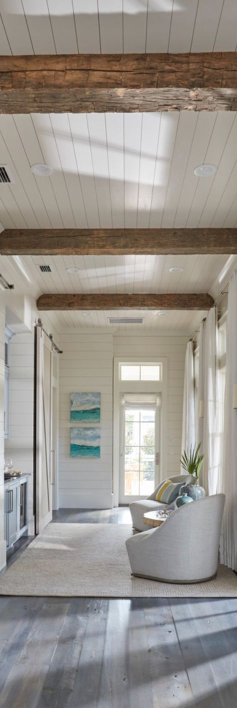 Delightful This Gorgeous Foyer Feature Shiplap Walls, Tongue And Groove Paneling  Ceiling And Blue Barn Door Painted In Benjamin Moore Yarmouth Blue. Photo
