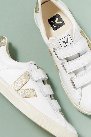 Gold Velcro 3-Lock Leather Sneaker