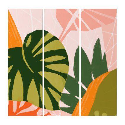 Jungle Collage I Triptych Zazzle Com Triptych Plant Art Triptych Wall Art