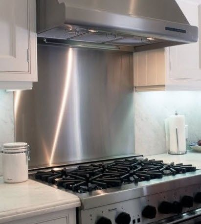 Stainless Steel Backsplash   Satin Finish   On Wall Behind Induction  Cooktop.