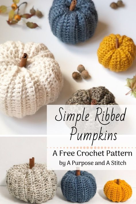 Simple Ribbed Pumpkins A Purpose and A Stitch. so cute with the cinnamon stems Crochet Fall, Holiday Crochet, Crochet Home, Crochet Gifts, Easy Crochet, Free Crochet, Thanksgiving Crochet, Crochet Pumpkin Pattern, Halloween Crochet Patterns