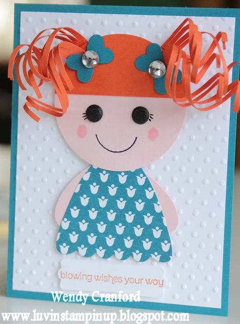 Luv the curly red hair - [Stampin' Up! Punch Art by Wendy C at Luvin Stampin Up: Lalaloopsy Girls] Kinder Karte Girl Birthday Cards, Handmade Birthday Cards, Greeting Cards Handmade, 5th Birthday, Children Birthday Cards, Princess Birthday, Birthday Ideas, Baby Cards, Kids Cards