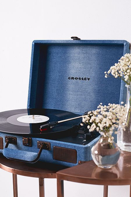 Crosley Cruiser Blue Denim Bluetooth Vinyl Record Player Vinyl Record Player Record Player Bluetooth Record Player