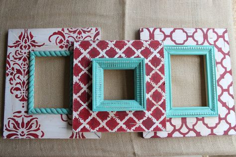Set of 3 Table Top or Wall Hanging Distressed picture Frames: Turquoise, Cream and Red, 2-5x7 1-4x4  by deltagirlframes