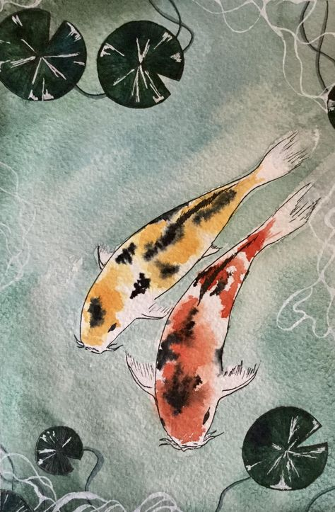 Craft Projects - I painted a koi pond. – amazing crafting , for the home decor , dyi crafts , it yourself projects , made crafts Japanese Watercolor, Pen And Watercolor, Watercolor Illustration, Watercolor Paintings, Fish Paintings, Mermaid Paintings, Pond Drawing, Koi Fish Drawing, Fish Drawings