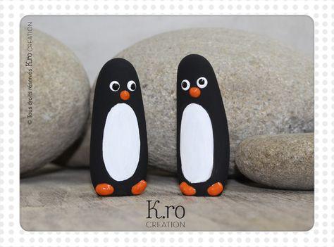 """Pingouins """"Pat et Lou"""" figurines décoratives peintes à la main : Accessoires de maison par k-ro-creation"""