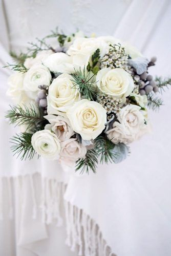 Winter Wedding Bouquets With White Roses And Spruce Branches Flowers By Janie Via I Winter Wedding Bouquet Christmas Wedding Flowers Christmas Wedding Bouquets