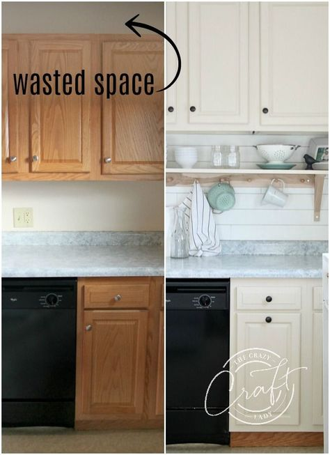 Learn how to raise kitchen cabinets to the ceiling and add a floating shelf underneath to maximize storage space in a small kitchen. diy kitchen decor Genius DIY: Raising Kitchen Cabinets and Adding an Open Shelf - The Crazy Craft Lady Diy Kitchen Remodel, Diy Kitchen Cabinets, Kitchen Soffit, Ikea Hack Kitchen, Kitchen Backsplash Diy, Restaining Kitchen Cabinets, Butcher Block Countertops Kitchen, How To Make Kitchen Cabinets, Ikea Pantry