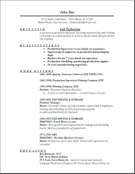 Resume Templates Lab Technician #resume #ResumeTemplates #technician