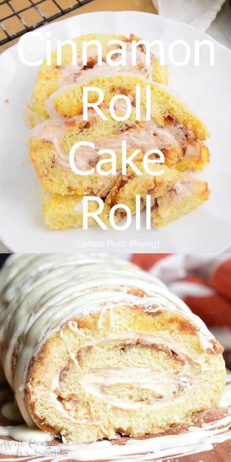 Cinnamon Roll Cake Roll. Soft and fluffy cinnamon swirled cake rolled with smooth cinnamon cream cheese frosting and drizzled with cinnamon icing. #cake #cakeroll #cinnamon #cinnabon #dessert