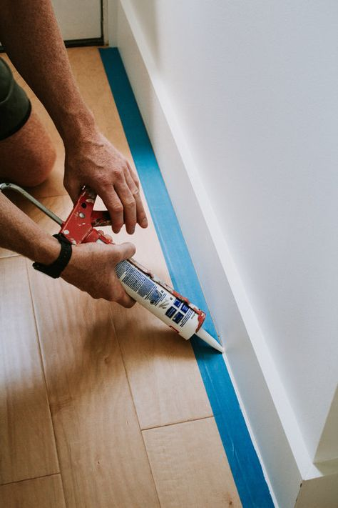 Caulk Baseboards, How To Install Baseboards, Modern Baseboards, Painting Baseboards, Baseboard Trim, Drywall, Home Renovation, Home Remodeling, Baseboard Styles