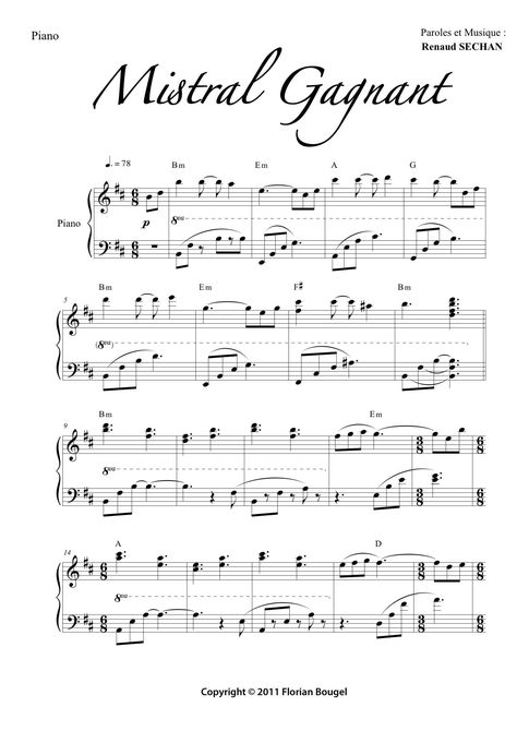 Partition piano mistral gagnant gratuite