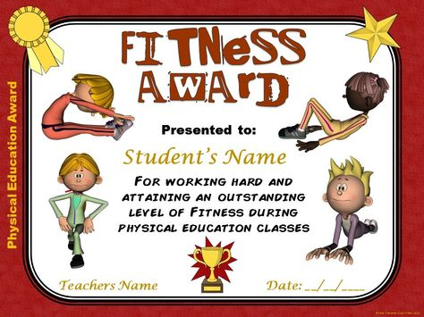 Pe Awards 15 Physical Education Certificates Education