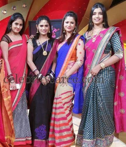 7016a47969464 Telugu TV anchors in Silk Sarees