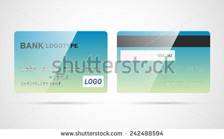 Blank silver debit or credit card template with chip and magnetic - credit card template word