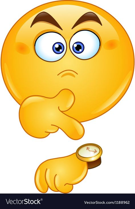 Pointing at watch emoticon Royalty Free Vector Image