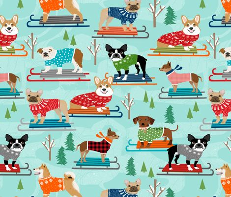Snow Day Dogs winter sledding dogs fabric by petfriendly on Spoonflower - custom fabric