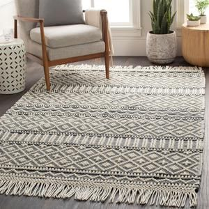 Surya Farmhouse Tassel Row Hand Woven Rug Rustic Area Rugs Wool Area Rugs Rugs On Carpet