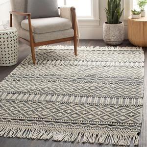 Surya Farmhouse Tassel Row Hand Woven Rug Rustic Area Rugs Wool
