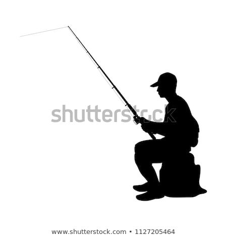 Young Man With Fishing Pole In Hand Silhouette Vector Fish Silhouette Hand Silhouette Fish Man
