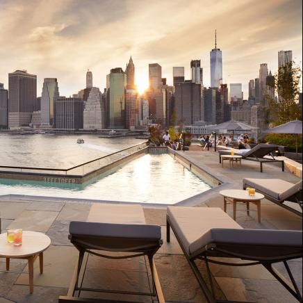 1 Hotel View Of Skyline Next To Pool At Rooftop Brooklyn Bridge Hotels In Brooklyn Ny Brooklyn Hotels Hotel