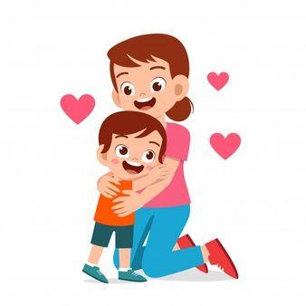 Happy Cute Kid Boy Hugging Mom Love Boys Hugging Cute Kids Children Sketch