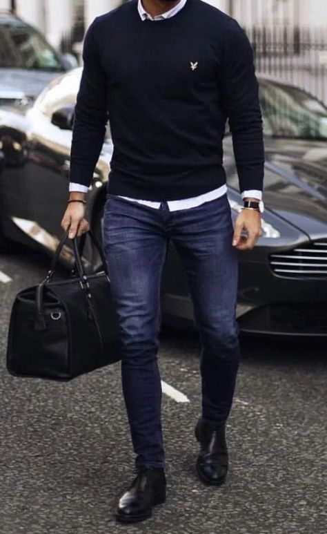 the bag and the skinny jeans and is a great . -Loose the bag and the skinny jeans and is a great . Outfit Hombre Casual, Beste Jeans, Mode Man, Herren Style, Skinny Guys, Skinny Jeans, Men's Jeans, Stylish Mens Outfits, Men's Casual Outfits