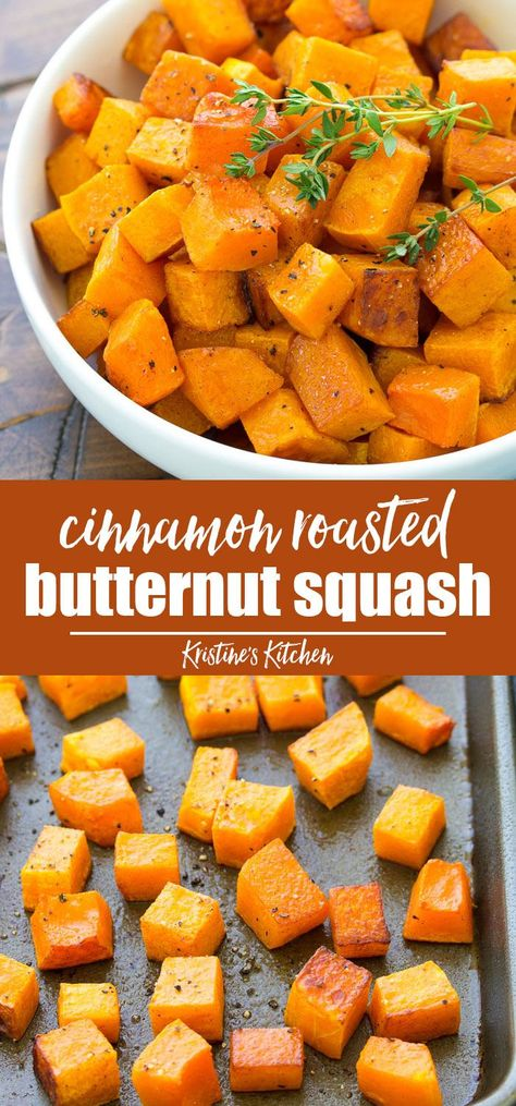 Learn how to make easy roasted butternut squash that is simple enough for weeknights yet fancy enough for your holiday table. Serve your oven roasted butternut squash as a healthy side dish or use it in your favorite squash recipes. #thanksgiving #butternutsquash #sidedish #vegetables