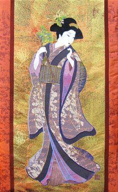 geisha in a kyoto temple geisha wall decoration noren panel kawaii fabric girl kimono Japanese Tenugui cotton fabric Geisha fabric panel