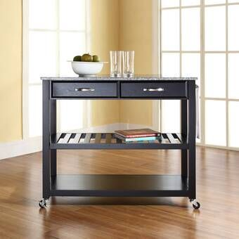 Delesha Multifunction Prep Table With Wood Top Kitchen Tops Granite Kitchen Island With Granite Top Kitchen Cart