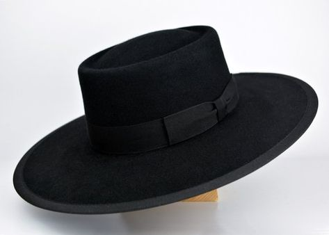 The Buckaroo Black Rabbit Fur Felt Vaquero Crown Bolero Hat a6fb72030550