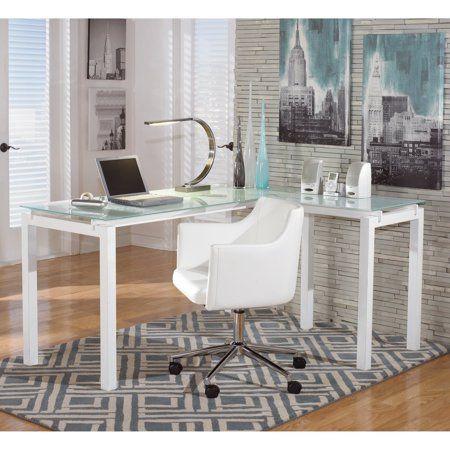 Signature Design By Ashley Baraga White L Desk Walmart Com Modern Home Office Furniture Office Furniture Set L Desk