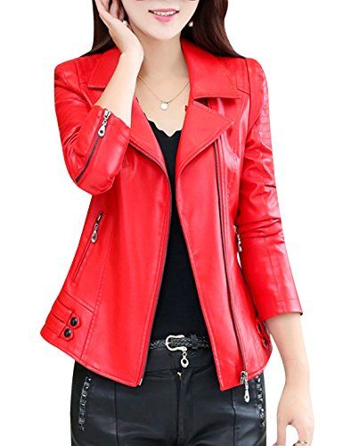 62 97 Tanming Women S Notch Lapel Zip Faux Leather Jacket Outerwear Leather Jacket Faux Leather Jackets Leather Jackets Women